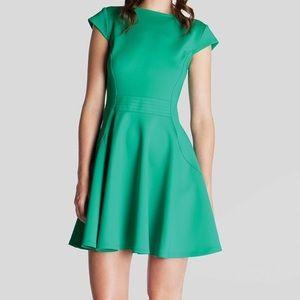 TED BAKER Stretch Skater Girl Dress Green